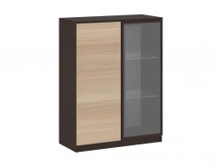 Шкаф со стеклом Сити 7.35 венге/дуб беленый