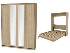 Кровать подъемная 1600 мм (вертикальная) К04+2 зеркала дуб сонома