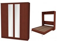 Кровать подъемная 1600 мм (вертикальная) К04+2 зеркала итальянский орех