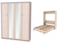 Кровать подъемная 1600 мм (вертикальная) К04+2 зеркала молочный дуб