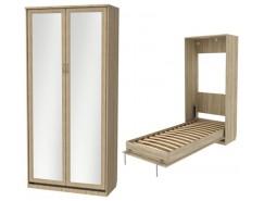 Кровать подъемная 900 мм (вертикальная) К02+2 зеркала дуб сонома