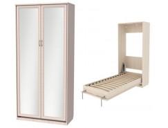 Кровать подъемная 900 мм (вертикальная) К02+2 зеркала молочный дуб