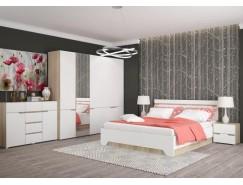 Спальня Анталия (кровать 1,6 м б/м б/о+2 тумбы+комод+2 шкафа) сонома/белый софт
