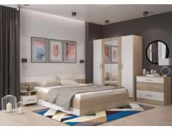 Спальня Леси (комод+тумба 2 шт.+кровать+шкаф) сонома/белый