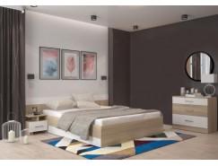 Спальня Леси (комод+тумба 2 шт.+кровать осн. ДСП) сонома/белый
