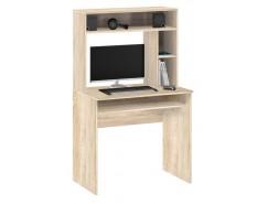 Стол компьютерный с настольной полкой 10.05 дуб сонома/белый