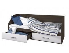 Кровать Ненси 800/2 ящика венге/белый глянец