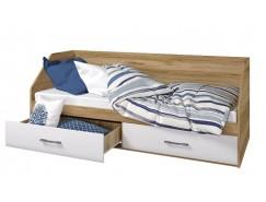 Кровать Ненси 800/2 ящика дуб золотистый/белый глянец