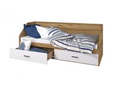 Кровать Лайт 800/2 ящика дуб золотой/ белый