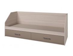 Кровать Ненси 800/2 ящика ясень/ какао перламутр глянец