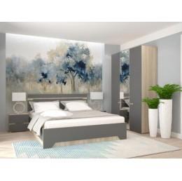 Спальня АНТ (кровать 1,6 м б/м б/о+2 тумбы+шкаф) сонома/графит софт