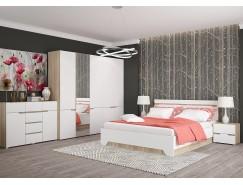 Спальня АНТ (кровать 1,6 м б/м б/о+2 тумбы+комод+2 шкафа) сонома/белый софт