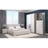 Спальня АНТ (кровать 1,6 м б/м б/о+2 тумбы+шкаф+комод) сонома/белый софт
