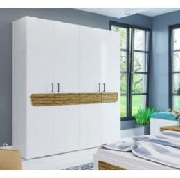 Шкаф Милана 4-х створчатый белый/сосна гранд