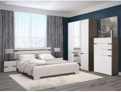 Спальня АНТ (кровать 1,6 м б/м б/о+2 тумбы+шкаф+комод) венге/белый софт