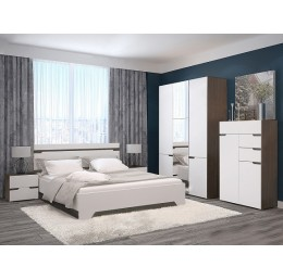 Спальня Анталия (кровать 1,6 м б/м б/о+2 тумбы+шкаф+комод) венге/белый софт