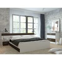 Спальня Леси (комод+тумба 2 шт.+кровать осн. ДСП) белый/кантенбери