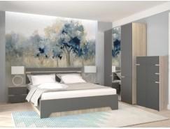 Спальня АНТ (кровать 1,6 м б/м б/о+2 тумбы+шкаф+комод) сонома/графит софт