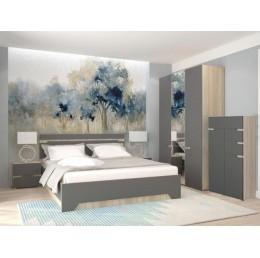 Спальня Анталия (кровать 1,6 м б/м б/о+2 тумбы+шкаф+комод) сонома/графит софт