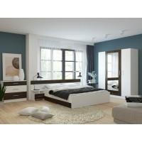 Спальня Леси (комод+тумба 2 шт.+кровать+шкаф) белый/кантенбери