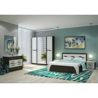 Спальня Валенсия (кровать 1,6 б/м б/о+комод+2 тумбы+зеркало+шкаф) венге/арктик прованс