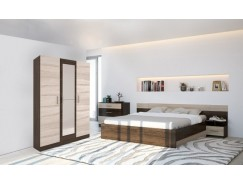 Спальня Леси (комод+тумба 2 шт.+кровать+шкаф 3 ств.) кантерберри/сонома