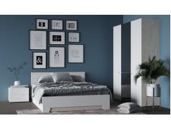 Спальня АНТ (кровать 1,6 м б/м б/о+2 тумбы+шкаф) сонома/белый софт