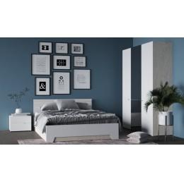 Спальня Анталия (кровать 1,6 м б/м б/о+2 тумбы+шкаф) сонома/белый софт