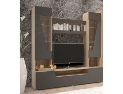 Гостиная -2 (тумба+надстройка) сонома/графит софт