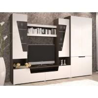 Гостиная-2+ шкаф (шкаф 2х ств.+тумба+надстройка) венге/белый софт