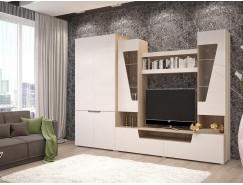 Гостиная-2+ шкаф (шкаф 2х ств.+тумба+надстройка) сонома/белый софт