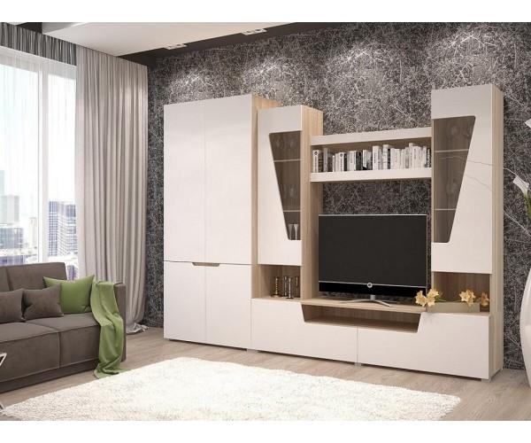 Гостиная -2+ шкаф (шкаф 2х ств.+тумба+надстройка) сонома/белый софт