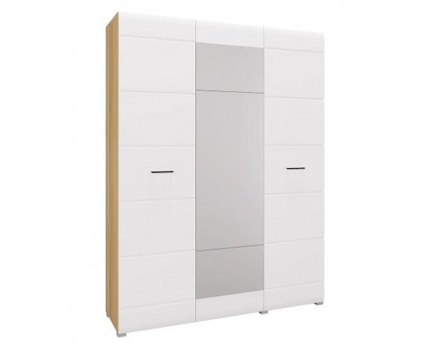 Шкаф 3 дв. Ненси дуб золотистый/белый глянец