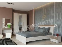 Спальня Азалия ( кровать 1,6+ тумба прикроватная 2 шт. + шкаф-купе+ трюмо азалия) ясень шимо светлый/ ясень шимо темный