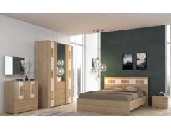 Спальня  Бавария( кровать 1,6 + 2 тумбы прикроватные+ шкаф+комод) дуб ривьера/ белый глянец
