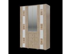 Шкаф 4-х дверный с ящиками  Бавария дуб ривьера/ белый глянец