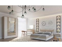 Спальня  Мальта( кровать 1,4 + тумба прикроватная 2 шт. + комод+ шкаф)  дуб сонома/ рамух белый