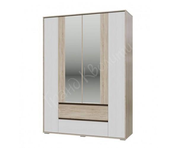 Шкаф 4-х дверный с ящиками Мальта дуб сонома/ рамух белый