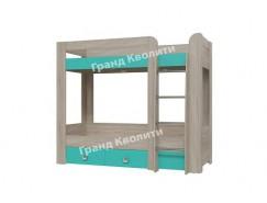 Кровать 2-х ярусная с двумя ящиками Сити дуб сонома/ аква