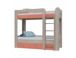 Кровать 2-х ярусная с двумя ящиками Сити дуб сонома/ коралл