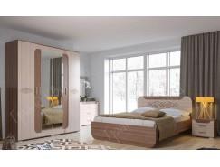 Спальня Пальмира ( кровать 1,6 + шкаф+ тумба прикроватная 2 шт.+ комод) ясень шимо светлый/ ясень шимо темный