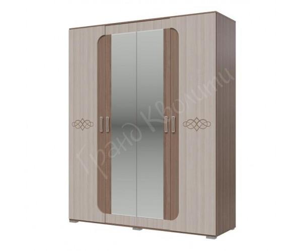 Шкаф 4-х дверный Пальмира 4-4821 ясень шимо светлый/ ясень шимо темный