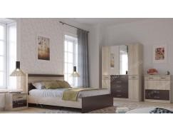Спальня Румба (кровать 1,6 +2 тумбы прикроватные+ комод+шкаф) венге /дуб сонома