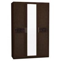 Шкаф 3-ств. с зеркалом Кэт-4 венге Linum/Caiman коричневый