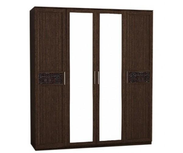 Шкаф 4х-ств. с зеркалом Кэт-4 венге Linum/Caiman коричневый