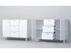 Комод К-2 (НГ) бетон светлый/ белый глянец