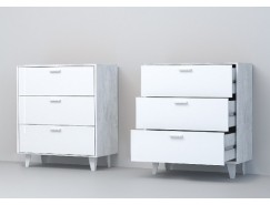 Комод К-3 (НГ) бетон светлый/ белый глянец