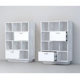 Комод К-1 (ПД) бетон светлый/ белый глянец