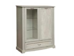 Шкаф-витрина 32.08-01 Сохо бетон пайн белый/ бетон пайн патина