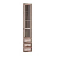 Дверь с ящиком 06.25-03  Миндаль со стеклом/ вудлайн кремовый/ профиль аруша венге кожа коричневая